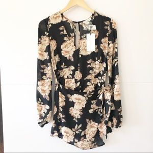 Cotton Candy | Long Sleeve Floral Black Romper S